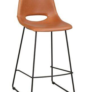 Manning barstol cognac konstläder/svarta ben