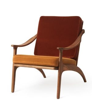 Lean Back Lounge Chair Brick red velvet/Amber Sammet Teak