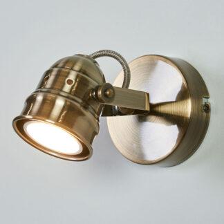 Antikmässingfärgad LED-vägglampa Leonor