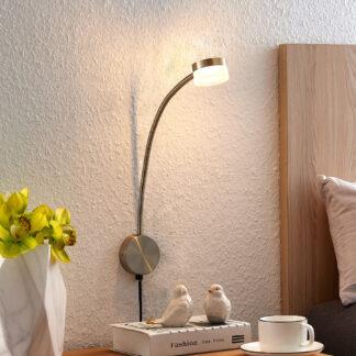 Lindby Gentjana LED-vägglampa, satinerad nickel