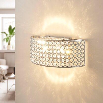 LED-vägglampa Alizee med glaskristaller och krom